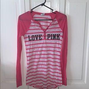 VS PINK Long striped long sleeve sleep shirt SMALL